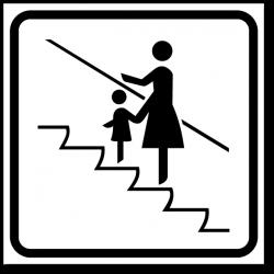 Знак При движении на эскалаторе держите детей за руку