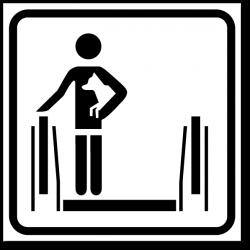Знак При движении на эскалаторе держите животных на руках